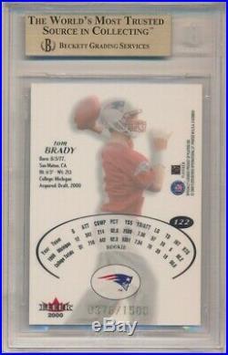 Tom Brady 2000 E-x #122 Rc Rookie New England Patriots 376/1500 Bgs 9.5 Gem Mint