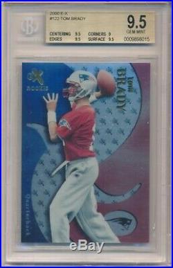 Tom Brady 2000 E-x #122 Rc Rookie New England Patriots Sp /1500 Bgs 9.5 Gem Mint