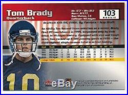 Tom Brady 2000 Fleer Mystique #103 Rc Rookie New England Patriots Sp #0743/2000