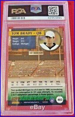 Tom Brady 2000 Pacific Rookie RC PSA 9 MT Patriots! GOAT