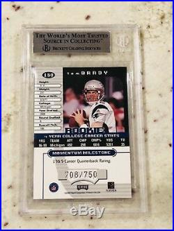 Tom Brady 2000 Playoff Momentum #180 Super Short Print 708/750 BGS 9 9.5