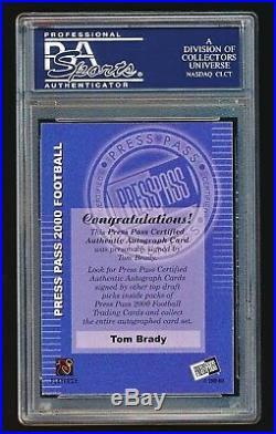 Tom Brady 2000 Press Pass Rookie Autographs On Card Auto PSA 9 Mint