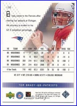 Tom Brady 2000 Spx #130 Rc Rookie Card New England Patriots Sp #0537/1350