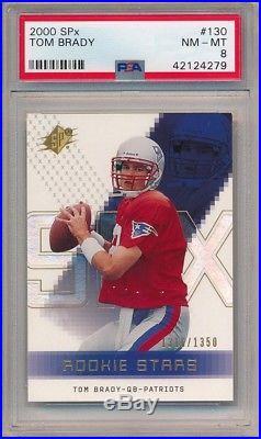 Tom Brady 2000 Spx #130 Rc Rookie New England Patriots Sp #/1350 Psa 8 Nm-mt