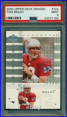 Tom Brady 2000 Upper Deck Graded Rookie #104 PSA 9 MINT #0703/1325