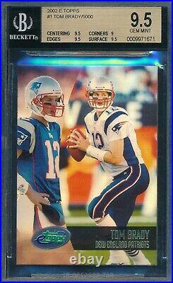 Tom Brady 2002 Topps E-topps /5000 Made Bgs 9.5 Gem! 2nd Year Card #1! Etopps