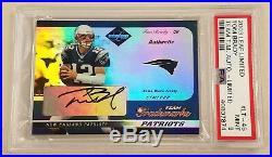 Tom Brady 2003 Leaf Limited Team Trademarks Auto Jersey Patch /25 PSA 9 Patriots