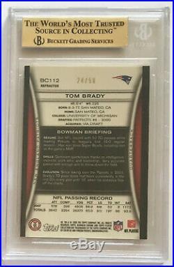 Tom Brady 2008 Bowman Chrome Gold Refractor /50 POP 2 (BGS 9.5) eBay 1/1