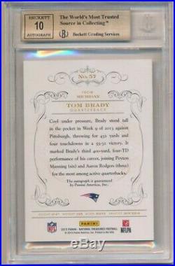 Tom Brady 2013 National Treasures Black Autograph Sp Auto #03/10 Bgs 9.5 Gem 10