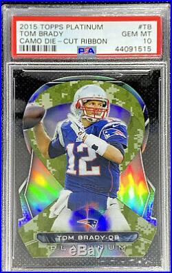 Tom Brady 2015 Topps Platinum Camo Die Cut Ribbon SSP #TB PSA 10 GEM MINT POP 4