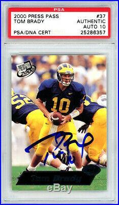 Tom Brady Autographed 2000 Press Pass Rookie Card #37 Gem 10 Auto PSA 25286357