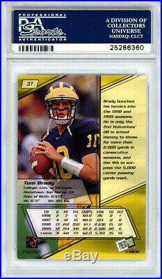 Tom Brady Autographed 2000 Press Pass Rookie Card #37 Gem 10 Auto PSA 25286360