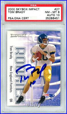 Tom Brady Autographed 2000 Skybox Rookie Card #27 Gem 10 Auto PSA 25286451