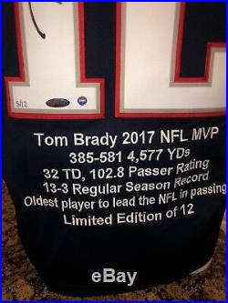 Tom Brady Autographed 2017 NFL MVP STATS Embroidered jersey LE. 5/12 Tristar
