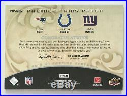 Tom Brady Eli Peyton Manning 2008 Premier Trio Game Worn Jersey Patch /75 (RARE)