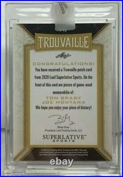Tom Brady / Joe Montana 2020 Leaf Superlative Sports Trouvaile GU Patch #'d 1/6
