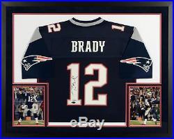 Tom Brady New England Patriots SM Deluxe Framed Auto Navy Pro-Line Jersey