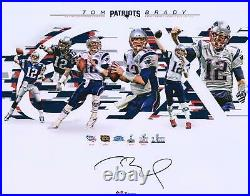 Tom Brady New England Patriots Signed 16 x 20 6-Time Super Bowl Champion Photo