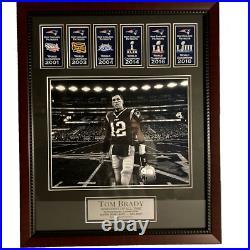 Tom Brady Photo Custom Framed To 16x20 with Patriots Super Bowl Banners