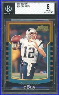 Tom Brady Rookie Card 2000 Bowman #236 New England Patriots BGS 8