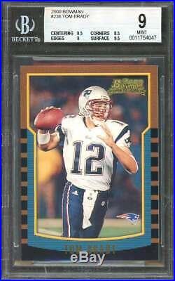 Tom Brady Rookie Card 2000 Bowman #236 New England Patriots BGS 9 (9 8.5 9 9.5)