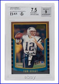 Tom Brady Signed 2000 Bowman #236 New England Patriots Card BGS NM+ 7.5 Auto 9