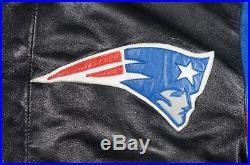 Vintage JEFF HAMILTON New England Patriots Satin Leather Reversible Jacket 90s L