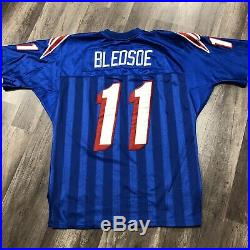 Vtg Starter New England Patriots Drew Bledsoe Authentic Blue Jersey Sz 48 XL